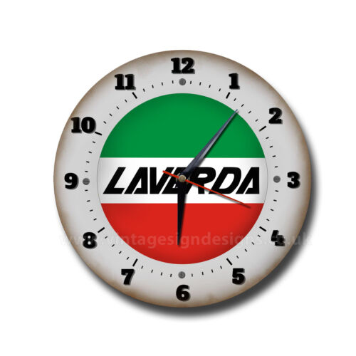 "LAVERDA MOTORCYCLES 10/"" DIAMETER METAL WALL CLOCK.ITALIAN MOTORCYCLES.MAN CAVE."