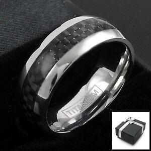 Ti-Titanium-Men-039-s-Black-Carbon-Fiber-Stripe-Comfort-Fit-Band-Ring-Size-8-15