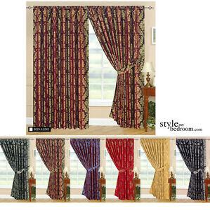 Fully-Lined-Designer-Jacquard-Curtains-in-7-Sizes-amp-6-Colours-incl-Tie-Backs