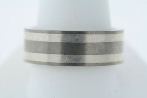 Men's Triton Titanium & Sterling Silver Squared Band Ring 8.6mm