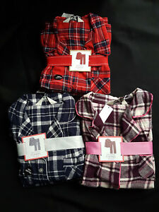 100% quality sophisticated technologies top quality Details about BNWT PRIMARK FLANNEL TARTAN BOYFRIEND BUTTON DOWN LONG  PYJAMAS PJ'S