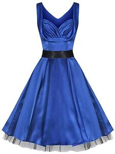 1950s-Vintage-Style-Blue-Silky-Full-Circle-Party-Prom-Evening-Dress-New-8-18