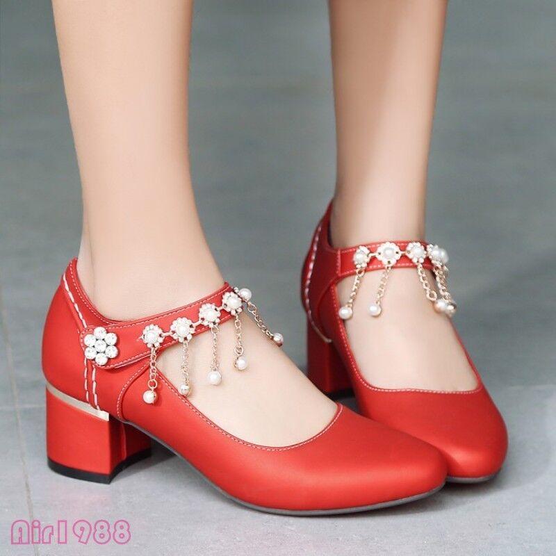 Sweet Womens Rhinestones Tassels Party Wedding Dress shoes Mid Heels Pumps shoes