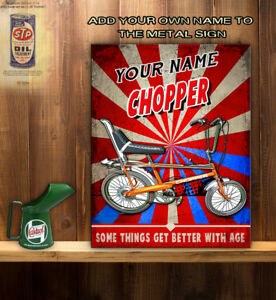 Personalised Raleigh Chopper Bike 70s Icon Retro Vintage Metal Wall Sign Rt04 Ebay
