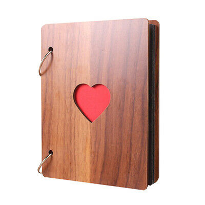 "DIY Photo Album Ring binder Camera Memories 8/""Wooden Cover Sticky Scrapbook Gift"