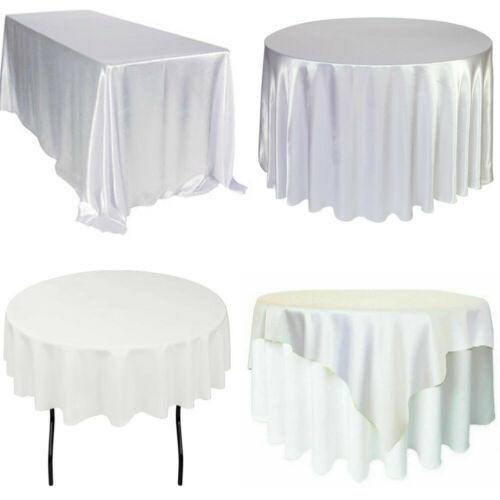 Rectangle Round Satin Tablecloth Wedding Table Cover Cloth Banquet Party Decor