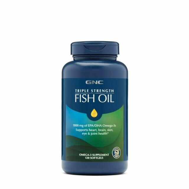 GNC Triple Strength Fish Oil 1000mg Of EPA/DHA, Omega3, 120 Softgels Ex. 5/2023