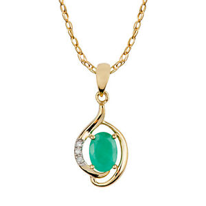 10k-Yellow-Gold-Genuine-Oval-Emerald-and-Diamond-Pendant-Necklace