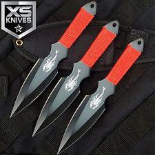 "3pc Set 6.5"" Scorpion Red/Black Ninja Throwing Knife Dagger W/ Sheath"