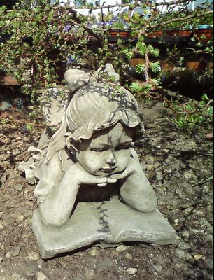 Little Girl Reading Statue Outdoor Garden Ornament Antique Decor Hand Cast