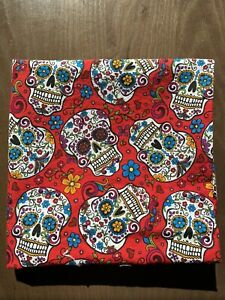 Halloween-Day-Of-The-Dead-Skull-Red-Fabric-David-Textiles-Remnant-34-X-34