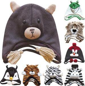 New-Knit-Fleece-Lined-Adult-Animal-Winter-Hat-Cap-w-Ear-Flaps-Poms-USA-Seller