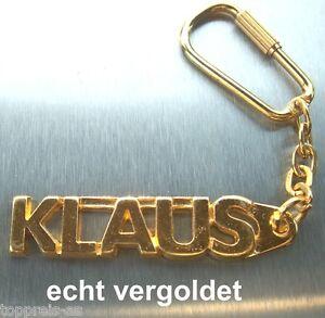EDLER SCHLÜSSELANHÄN<wbr/>GER KLAUS VERGOLDET GOLD NAME KEYCHAIN WEIHNACHTSGESC<wbr/>HENK