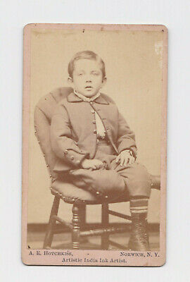 1800/'s CDV Photo of Little Boy Posing Next To Ornate Chair in Attica Indiana19th Century Antique Photo of Boy Holding Chair