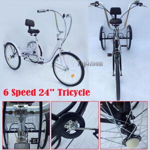 Gli Adulti Triciclo Bicicletta Bici Tricicletta 24 6 Velocità Tre