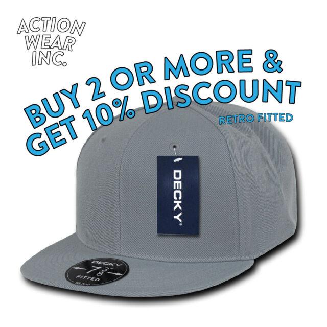 DECKY RP1 MEN'S FITTED HAT RETRO HATS FLAT BILL CAPS BASEBALL CAP BLANK HIP  HOP