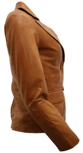 Tan Casual Blazer Jacket Leather Ladies fzwXU