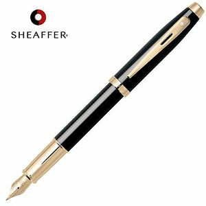 SHEAFFER-100-Calligraphy-FOUNTAIN-PEN-Medium-Nib-Black-Barrel-in ...