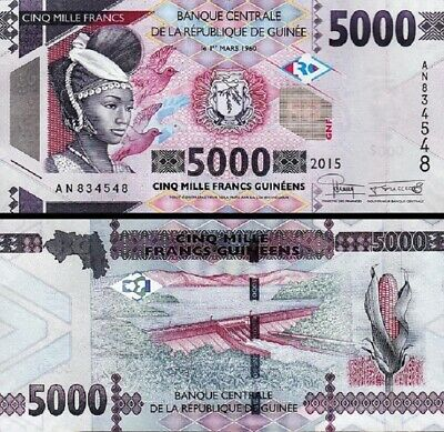 Guinea 5000 Francs 2015 P-49 UNC