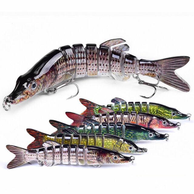 5.04″ Jointed Swim Bait Fishing Lures 4 Segments Bass Pike Muskie Killer