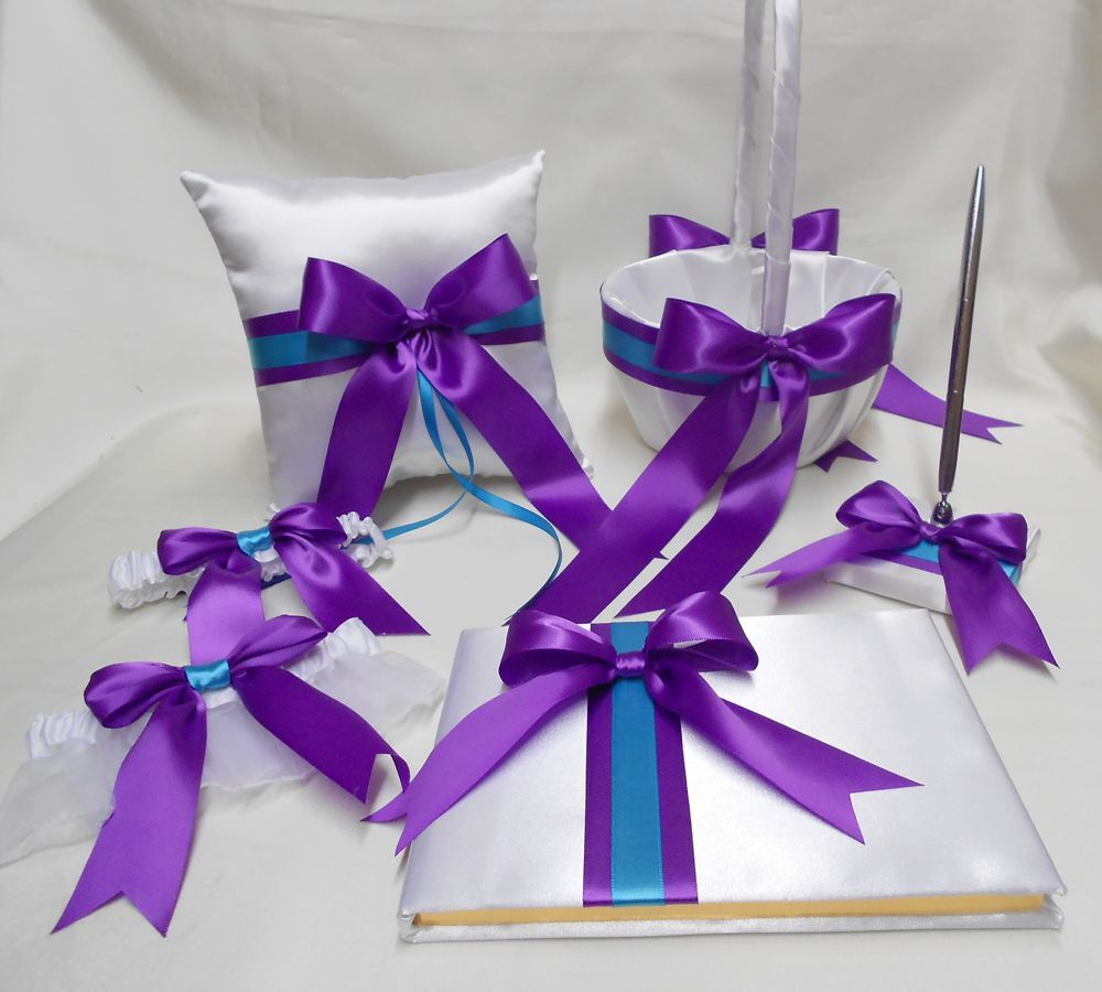Weiß lila Turquoise Flower Girl Basket Ring Bearer Pillow Guest Book Pen set