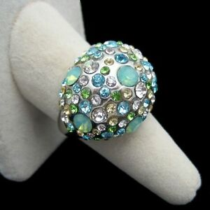 Vintage-Blue-Green-Rhinestones-Cocktail-Ring-Large-Dome-Chunky-Sz-9-5-Classy