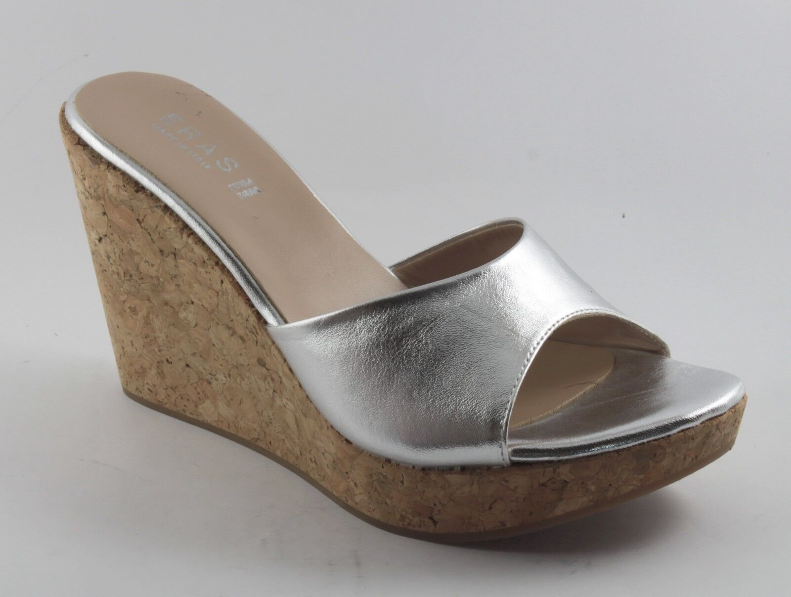 770 ZEPPE SANDALI women FONDO SUGHERO COMODE IN PELLE color LAMINATO silver 39