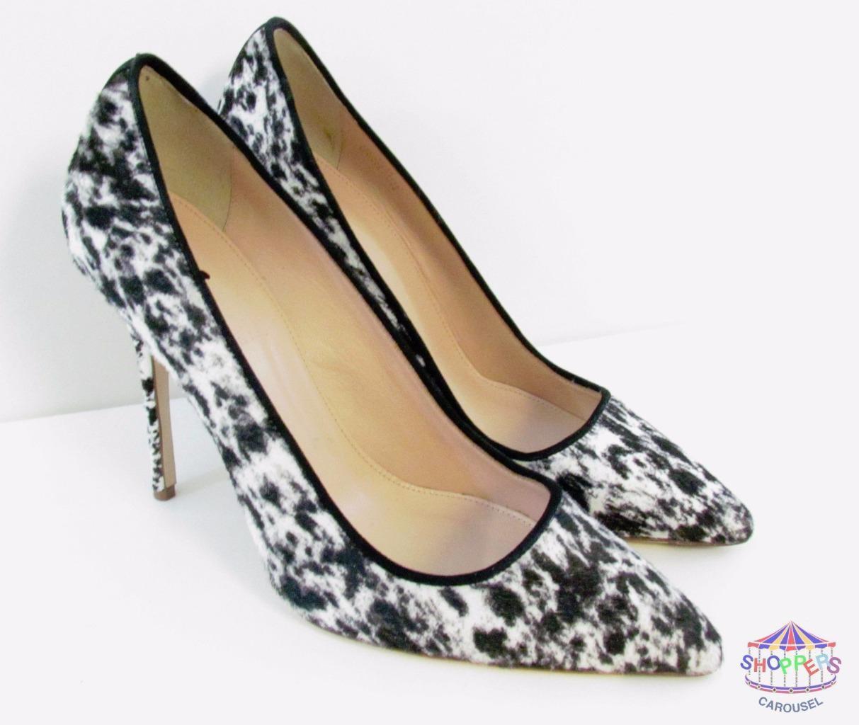 J Crew Collection Roxie Negro Pantorrilla Cabello Bombas Tacones Zapatos Negro Roxie blancoo  378 estilo b1004 c2b54c