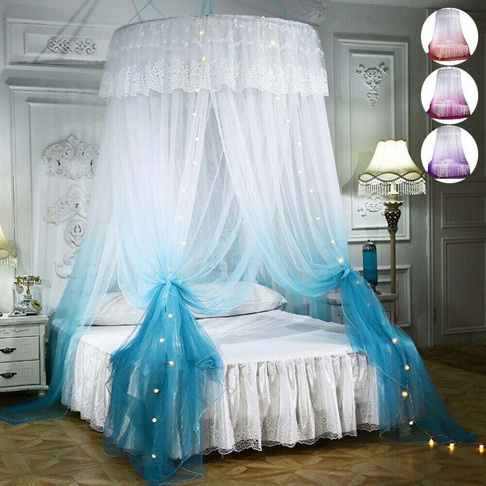 Moskitonetz Mückennetz Baldachin Betthimmel mit LED Lichterkette Prinzessin DE