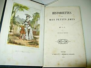 HISTORIETTES-POUR-PETITS-AMIS-1858-Illustre-Couleurs-CARTONNAGE-ROMANTIQUE