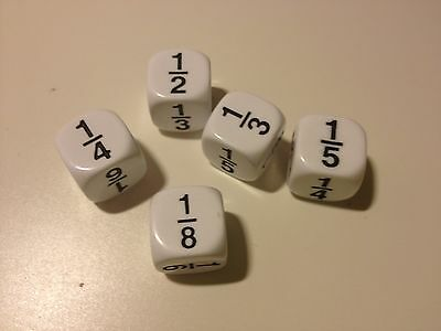 Maths Fractions Dice (pack of 5) - Numeracy Maths Teaching Resource (D089)