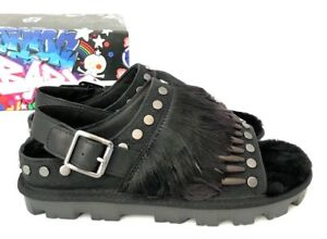 0ffa16c418a Details about Ugg Biker Chic Womens Sandals Black Studded Feather Fur  Slingback