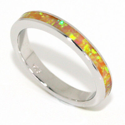 Stackable Yellow with Green Fire Opal Sterling Silver Eternity Band Ring 3MM