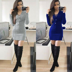 Sweater-Dresses-Bodycon-Knit-Dress-Stretch-Women-Long-Sleeve-V-Neck-Jumper-Mini