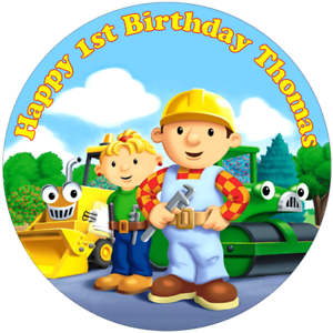 Fabulous Bob The Builder 7 5 Round Edible Icing Cake Topper Birthday Ebay Funny Birthday Cards Online Elaedamsfinfo