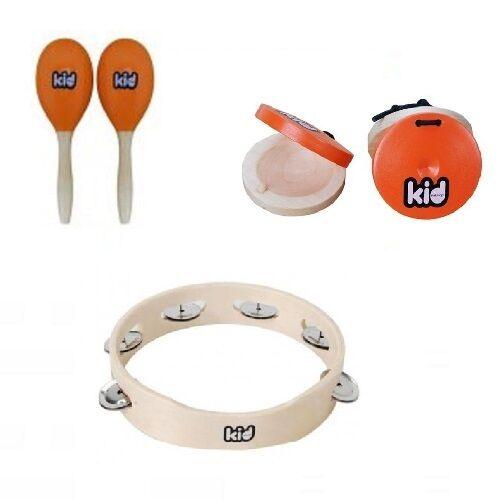 Kid - Lot de 3 Percussions Enfant 1 Tambourin Paire Maracas Paire Castagnettes