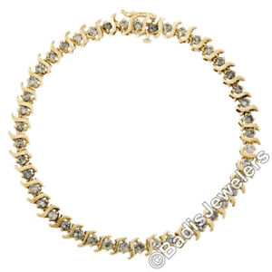 10K-Yellow-Gold-1-80ctw-7-75-034-Round-Brilliant-Diamond-S-Link-Tennis-Bracelet