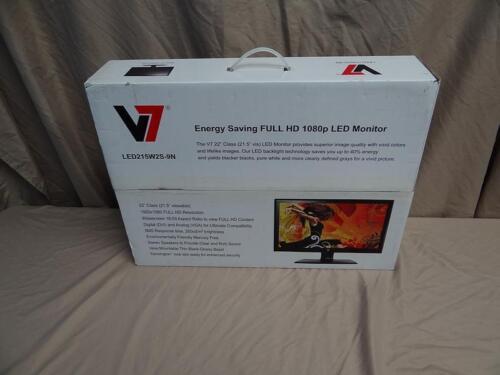 """V7 21.5/"""" LED LCD Monitor 16:9 1920 x 1080  Model LED215W2S-9N New!"""