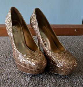e69803167b0e4d Image is loading Bakers-Gold-Glitter-Shoes-Stilettos-Pumps-Platform-Heels-