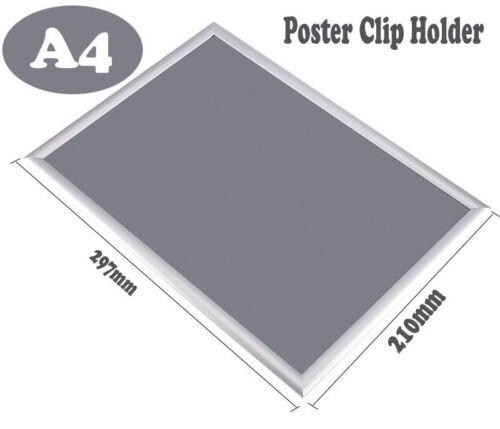 ALUMINIUM ALLOY CLIP SNAP FRAMES POSTER HOLDER SILVER DISPLAY A0 A1 A2 A3 A4