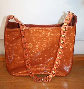 410671aeef6c4 Das Bild wird geladen ESCADA-Tasche-schoene-Handtasche-Leder -und-Kunststoff-braun-