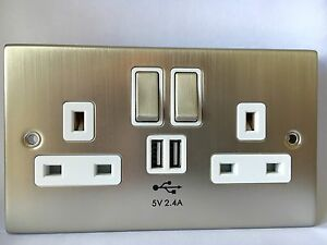 Image Is Loading Usb Chrome Double Socket 2 4a Electric Wall