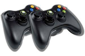 2-Original-Microsoft-Xbox-360-Wireless-Controller-Schwarz-Gamepad-Pad-Joystick