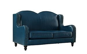 Vintage Leather Loveseat Sofa 2 Seater Living Room Couch W