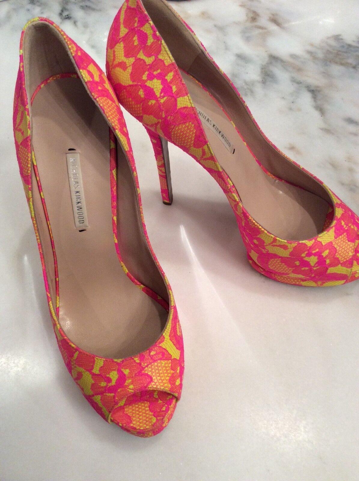 Gorgeous Nicholas Kirkwood Neon Pink & Yellow Lace Print Open Toe Heel Sz 39 1 2