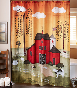 Image Is Loading Red Barn Shower Curtain Fabric Rustic Country Bathroom