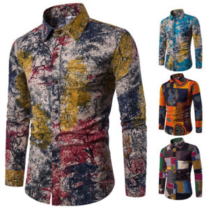 Men-s-Shirt-Dashiki-Hippie-Shirts-Slim-Fit-Tops-Hip-Casual-Button-Down-Shirts