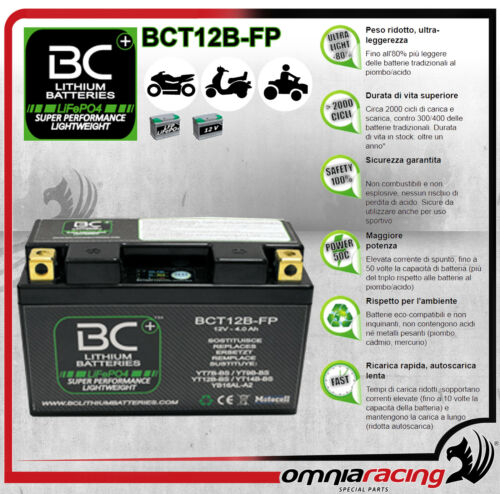 Batteria Moto Litio BC LifePO4 BCT12B-FP Battery Lithium per YB16AL-A2