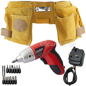 Double Leather Tool Nails Belt Pouch Holster Cordless Re-chargeable Screwdriver