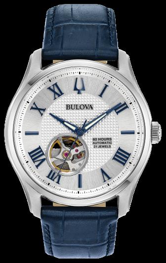 Bulova Clasic Wilton Automatic Open Heart Silver Dial LTHR Band Men Watch 96A206